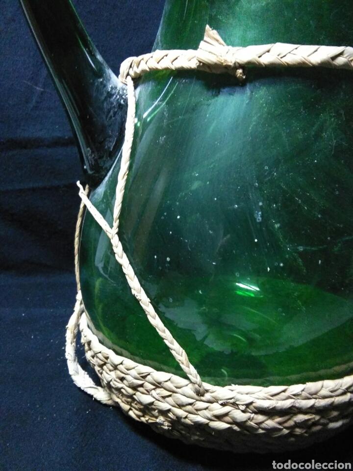 Antigüedades: Antiguo jarra de cristal siglo XIX ,vidreo verde , - Foto 3 - 255522285