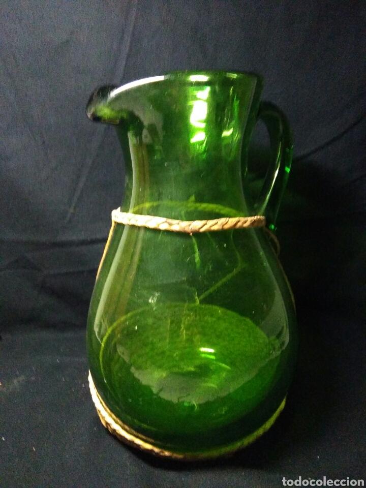 Antigüedades: Antiguo jarra de cristal siglo XIX ,vidreo verde , - Foto 8 - 255522285