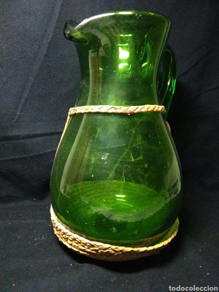 Antigüedades: Antiguo jarra de cristal siglo XIX ,vidreo verde , - Foto 10 - 255522285