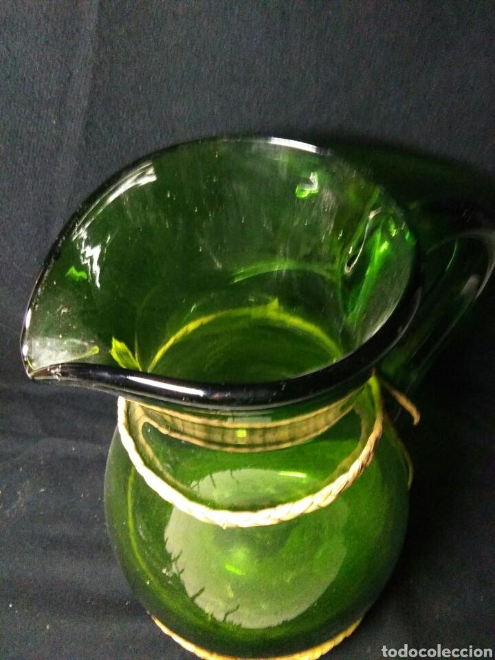 Antigüedades: Antiguo jarra de cristal siglo XIX ,vidreo verde , - Foto 13 - 255522285