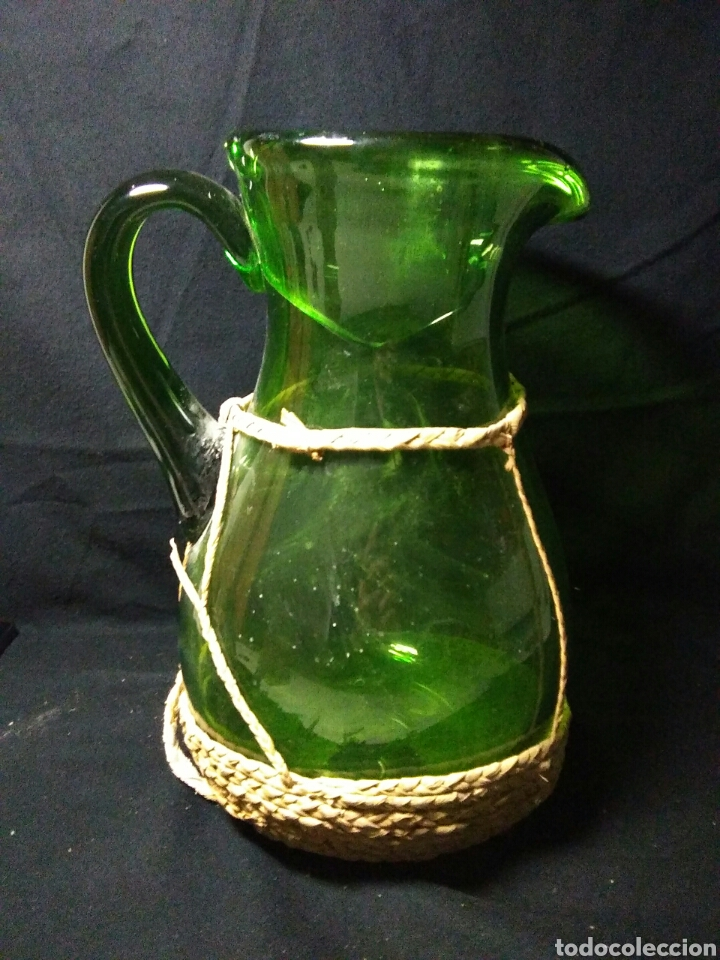 Antigüedades: Antiguo jarra de cristal siglo XIX ,vidreo verde , - Foto 14 - 255522285