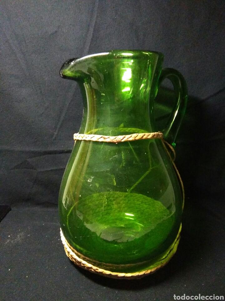 ANTIGUO JARRA DE CRISTAL SIGLO XIX ,VIDREO VERDE , (Antigüedades - Cristal y Vidrio - Otros)
