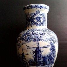 Antigüedades: JARRON AZUL DELFT,FIRMADO T.DELFT BLEAU (DESCRIPCIÓN). Lote 255537665