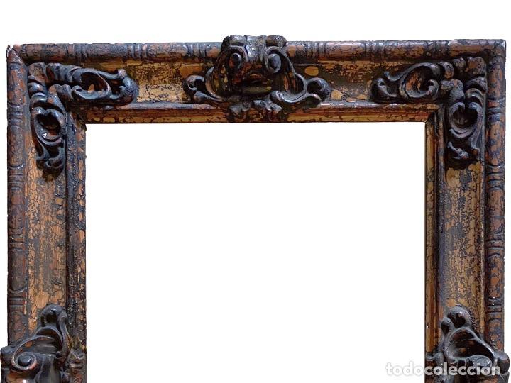 Antigüedades: Espectacular marco de madera antiguo,S.XIX, negro, óxido.madera.... - Foto 2 - 255548370