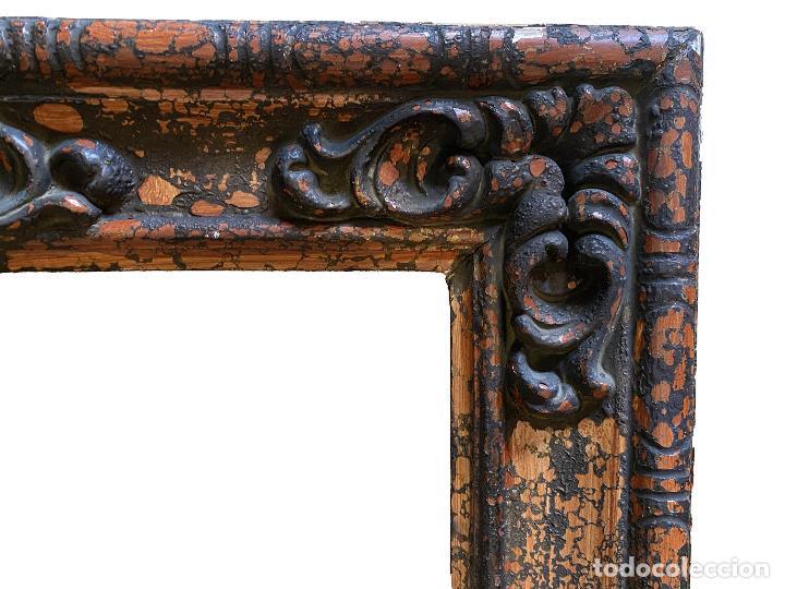 Antigüedades: Espectacular marco de madera antiguo,S.XIX, negro, óxido.madera.... - Foto 3 - 255548370