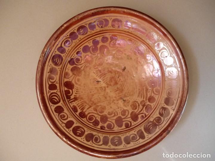 PLATO DE CERÁMICA MANISES REFLEJO METÁLICO SIGLO XVII MOTIVO PÁJARO O PARDALOT (Antigüedades - Porcelanas y Cerámicas - Manises)