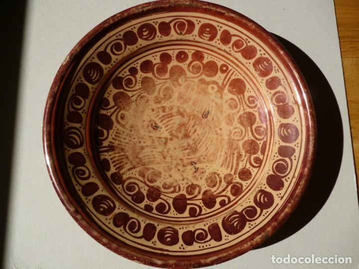 Antigüedades: Plato de cerámica Manises reflejo metálico siglo XVII motivo pájaro o pardalot - Foto 6 - 255554560