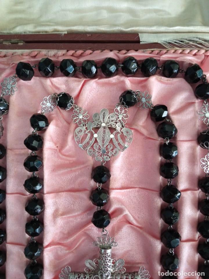 Antigüedades: ROSARIO cristal negro y filigrana de plata. - Foto 3 - 255564560