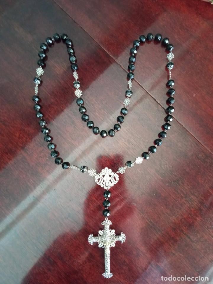 Antigüedades: ROSARIO cristal negro y filigrana de plata. - Foto 5 - 255564560