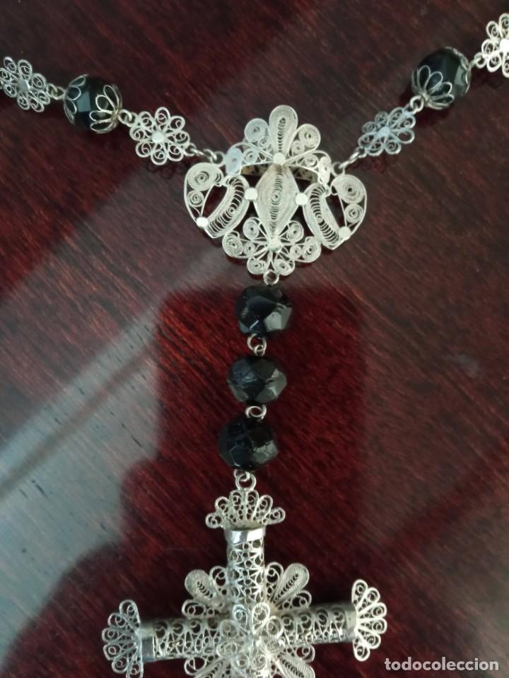 Antigüedades: ROSARIO cristal negro y filigrana de plata. - Foto 7 - 255564560
