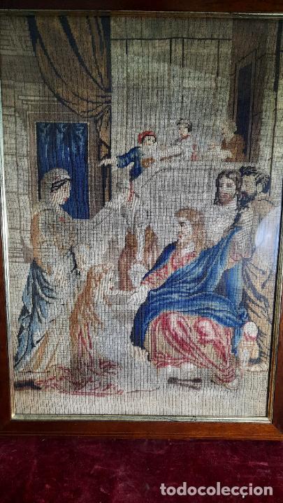 TAPIZ ENMARCADO DE SIGLO XVIII (Antigüedades - Hogar y Decoración - Tapices Antiguos)