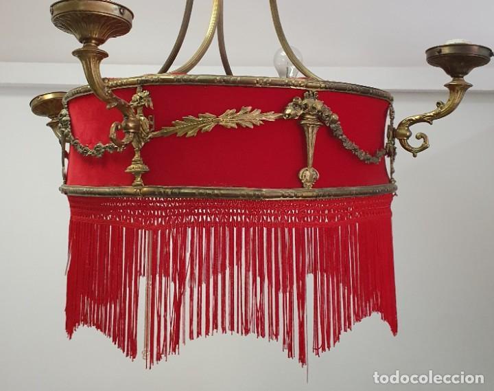 ANTIGUA LAMPARA DE TELA Y BRONCE (Antigüedades - Iluminación - Lámparas Antiguas)