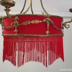 Antigüedades: ANTIGUA LAMPARA DE TELA Y BRONCE. Lote 255598135