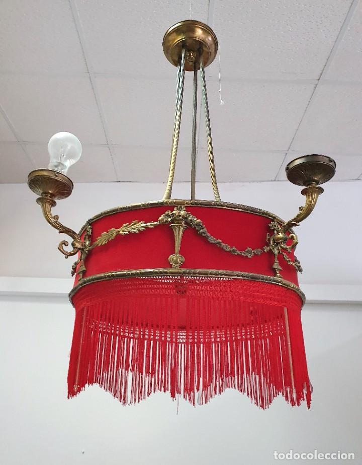 Antigüedades: ANTIGUA LAMPARA DE TELA Y BRONCE - Foto 3 - 255598135