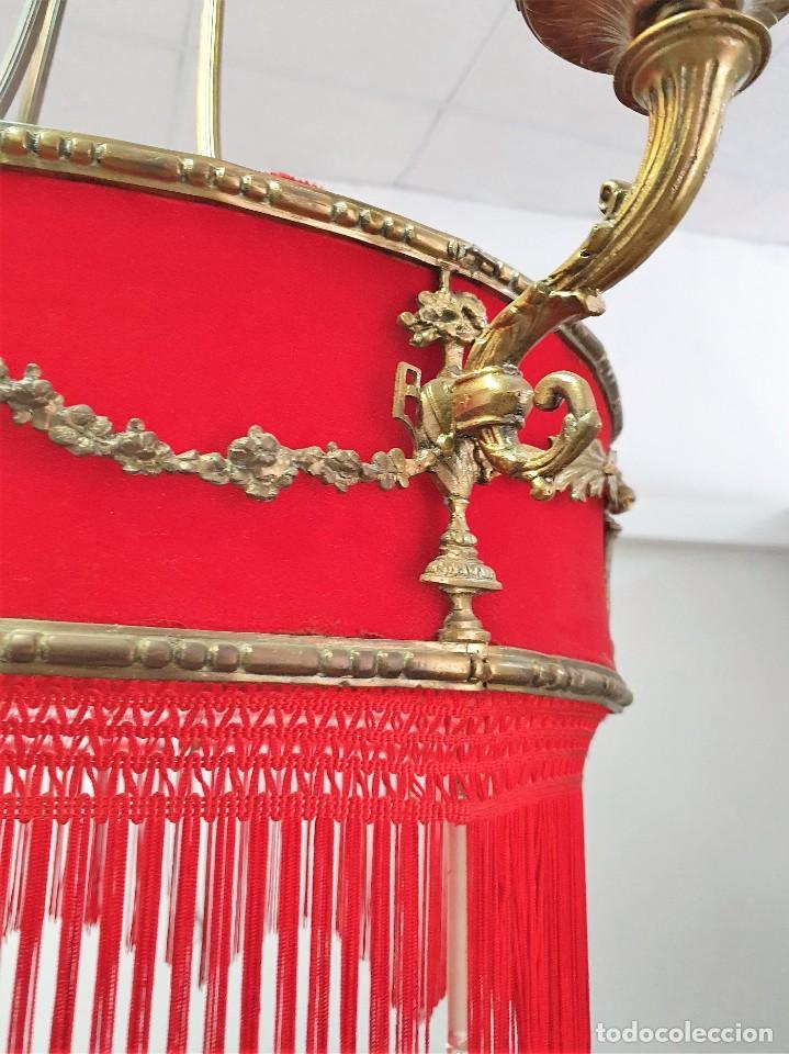 Antigüedades: ANTIGUA LAMPARA DE TELA Y BRONCE - Foto 4 - 255598135