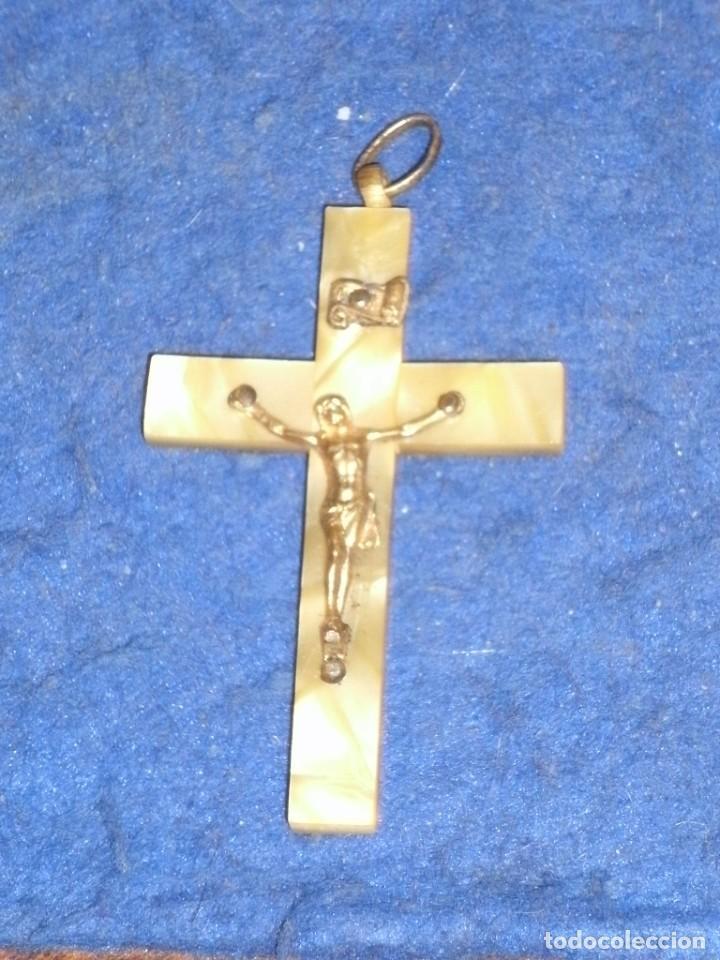 ANTIGUA CRUZ NACARADA PARA ROSARIO O VARIOS. (Antigüedades - Religiosas - Cruces Antiguas)