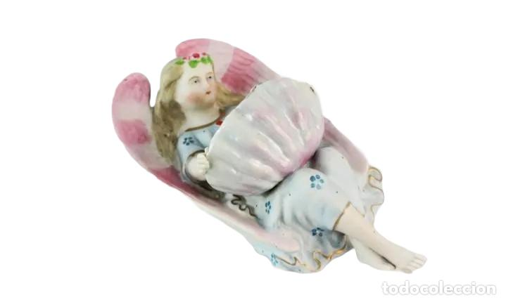 Antigüedades: Benditera ángel en porcelana biscuit - Pps SXX - Foto 2 - 222814572
