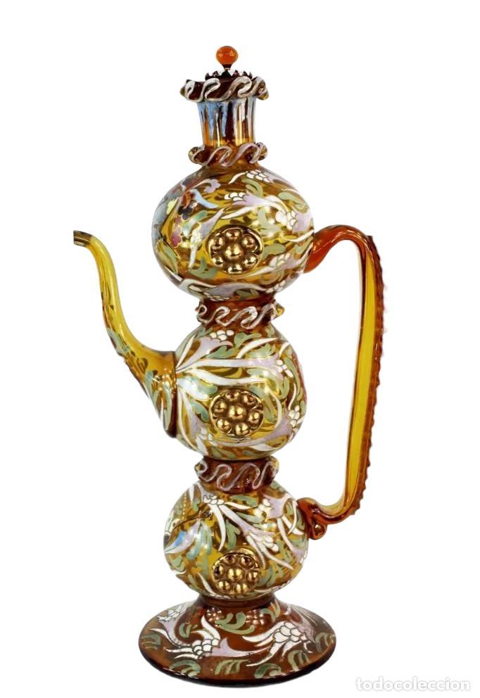 Antigüedades: Gran y único porrón o jarra en cristal soplado y esmaltado. Genís Cirera. (1890-1970) 39x20cm - Foto 10 - 248222280