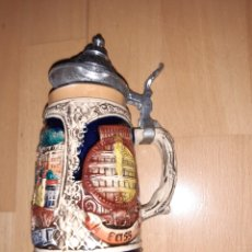 Antigüedades: JARRA PIRCELANA ALEMANA CON TAPA METAL SELLADO EN BASE. VER DESCRIPCIÓN. Lote 255649725