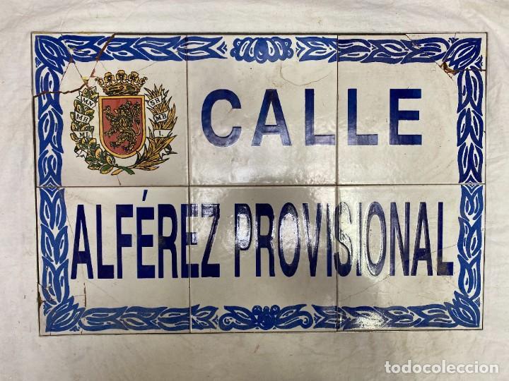 PLACA DE CALLE DE ZARAGOZA. ALFÉREZ PROVISIONAL. 60X40 (Antigüedades - Porcelanas y Cerámicas - Otras)