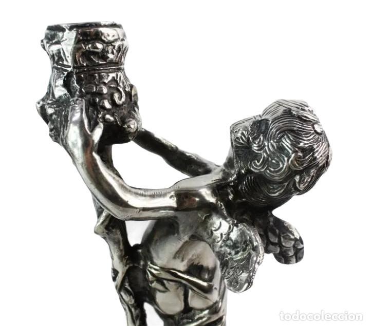 Antigüedades: Pareja de candelabros en bronce plateados. al estilo Christofle - Foto 3 - 226240255