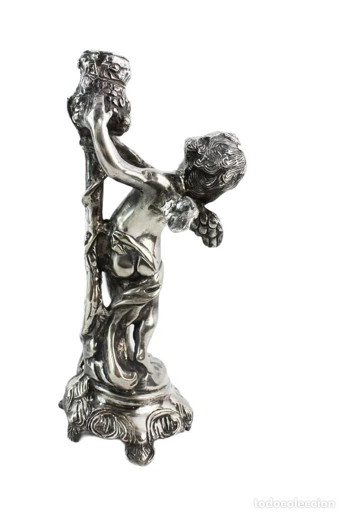 Antigüedades: Pareja de candelabros en bronce plateados. al estilo Christofle - Foto 6 - 226240255