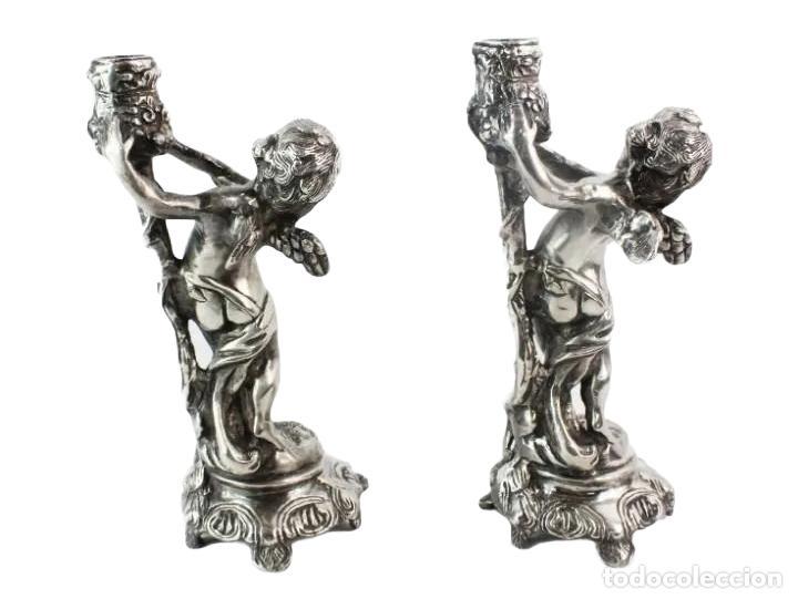 Antigüedades: Pareja de candelabros en bronce plateados. al estilo Christofle - Foto 7 - 226240255
