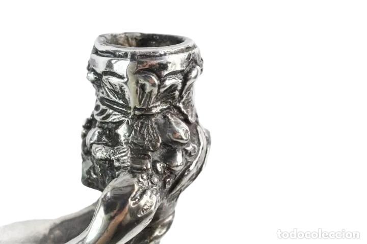 Antigüedades: Pareja de candelabros en bronce plateados. al estilo Christofle - Foto 9 - 226240255