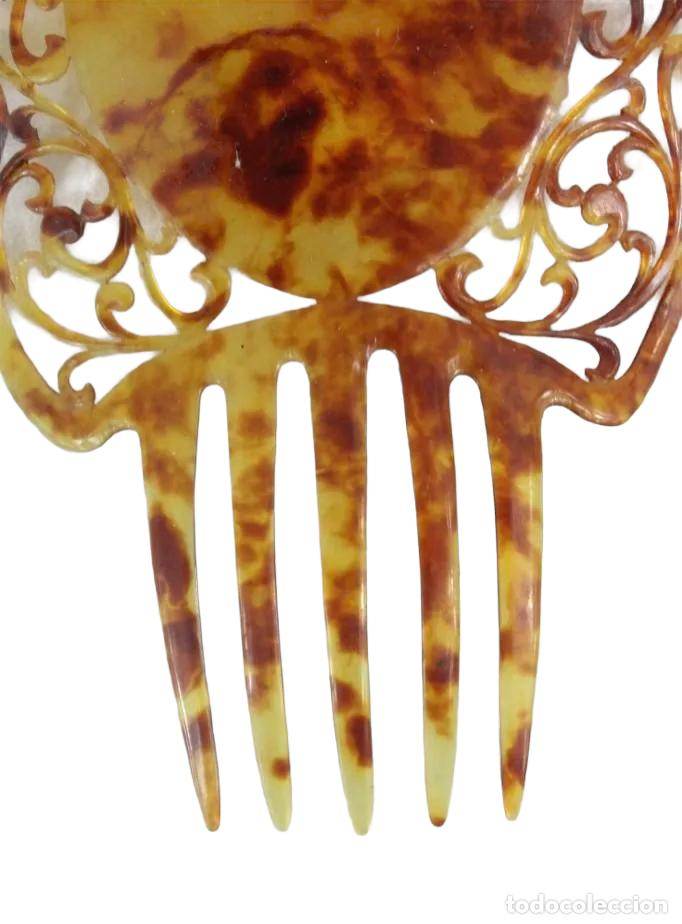 Antigüedades: Ref P - Peineta en celuloide realizada a mano. ca 1910 20x13cm, teja 13cm. - Foto 3 - 230665895