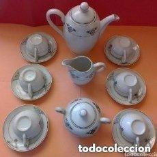 Antigüedades: ANTIGUO JUEGO DE CAFE SANTA CLARA, 6 SERVICIOS TETERA AZUCARERO Y JARRITA PARA LECHE CON SUS TAPITAS. Lote 255924885