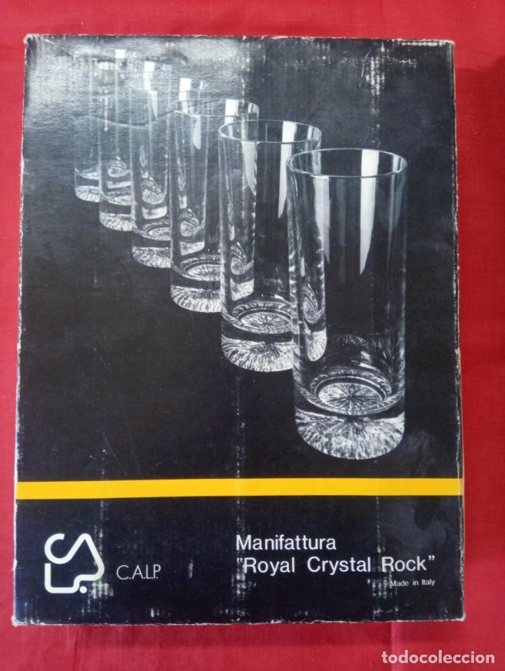 Antigüedades: 6 vasos lagos de cristal emplomado en su caja sin uso. - Foto 3 - 255940750