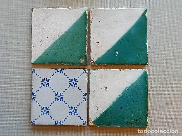 4 AZULEJOS SIGLO XIX (Antigüedades - Porcelanas y Cerámicas - Catalana)