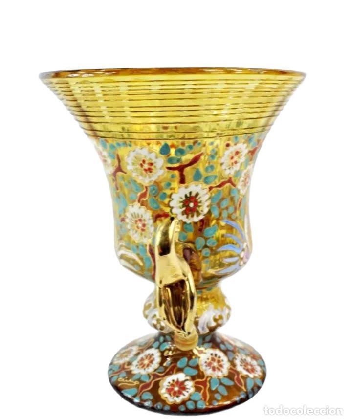 Antigüedades: Gran y único jarrón en cristal soplado y esmaltado. Genís Cirera. (1890-1970) 22x19cm - Foto 2 - 248222705