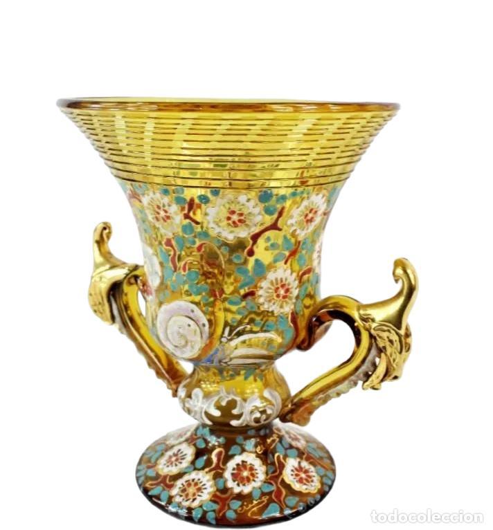 Antigüedades: Gran y único jarrón en cristal soplado y esmaltado. Genís Cirera. (1890-1970) 22x19cm - Foto 3 - 248222705