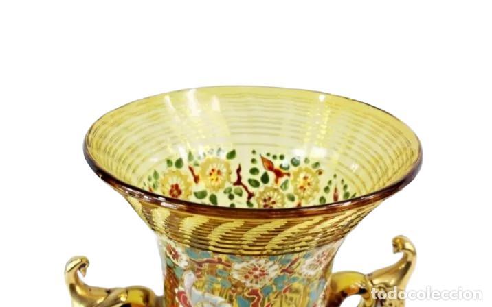 Antigüedades: Gran y único jarrón en cristal soplado y esmaltado. Genís Cirera. (1890-1970) 22x19cm - Foto 5 - 248222705