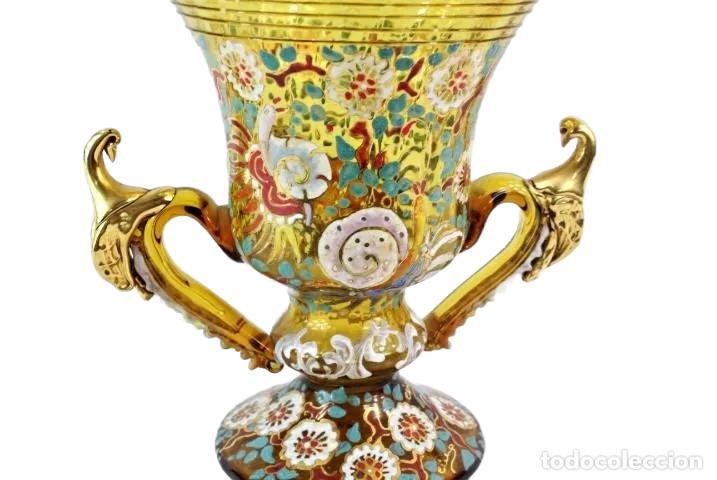 Antigüedades: Gran y único jarrón en cristal soplado y esmaltado. Genís Cirera. (1890-1970) 22x19cm - Foto 6 - 248222705