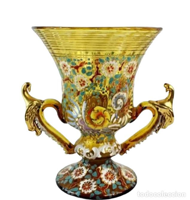 Antigüedades: Gran y único jarrón en cristal soplado y esmaltado. Genís Cirera. (1890-1970) 22x19cm - Foto 8 - 248222705