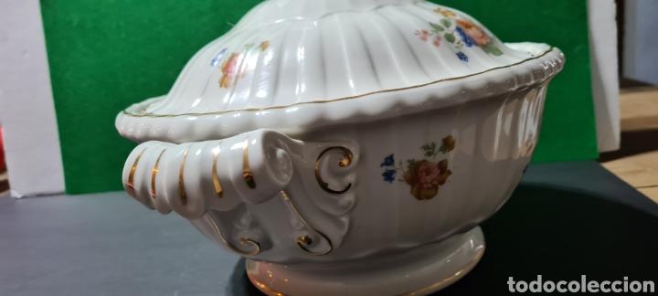 Antigüedades: Preciosa sopera de cerámi con sello en la base. De motivos florales y bordes dorados. Muy elegante. - Foto 4 - 255989680