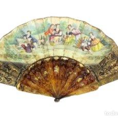 Antigüedades: ABANICO EN ASTA CALADA Y PAPEL CON LITOGRAFÍAS. CA 1860 - A PIERCED HORN HAND FAN WITH PAPER LITHOS.. Lote 218576546