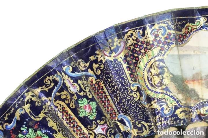 Antigüedades: Abanico pintado a mano. Madera y papel. Dorados. ca 1870. Hand painted hand fan. Paper and wood - Foto 4 - 227688084