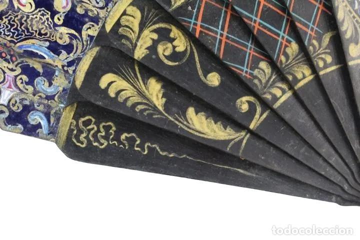 Antigüedades: Abanico pintado a mano. Madera y papel. Dorados. ca 1870. Hand painted hand fan. Paper and wood - Foto 10 - 227688084