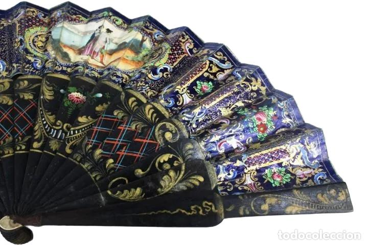 Antigüedades: Abanico pintado a mano. Madera y papel. Dorados. ca 1870. Hand painted hand fan. Paper and wood - Foto 13 - 227688084