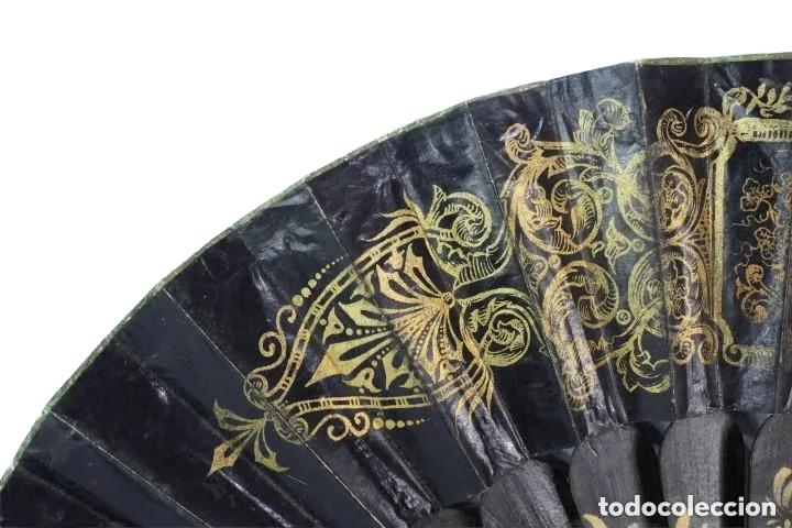 Antigüedades: Abanico pintado a mano. Madera y papel. Dorados. ca 1870. Hand painted hand fan. Paper and wood - Foto 14 - 227688084