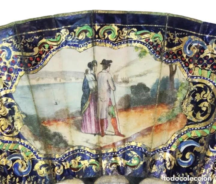 Antigüedades: Abanico pintado a mano. Madera y papel. Dorados. ca 1870. Hand painted hand fan. Paper and wood - Foto 19 - 227688084