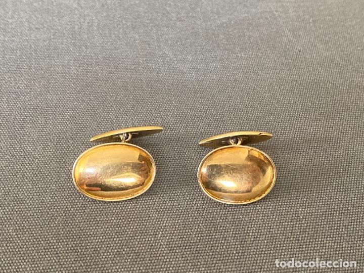 BERNHARD HERTZ 14-KARAT YELLOW GOLD CUFFLINKS , GEMELOS DE ORO DE 14 QUILATES , DINAMARCA (Antigüedades - Moda - Gemelos Antiguos)