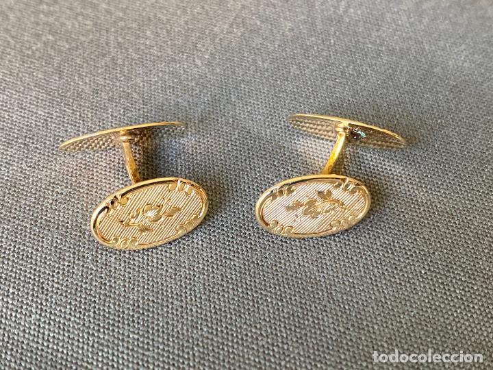 Antigüedades: L B EXCLUSIVE cufflinks , gemelos de ORO DE 14 QUILATES , 585 KARAT CUFFLINKS - Foto 3 - 256006570