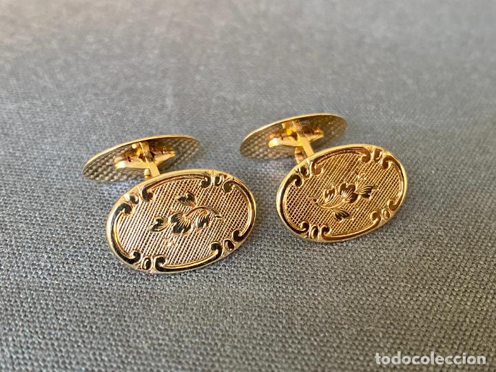 Antigüedades: L B EXCLUSIVE cufflinks , gemelos de ORO DE 14 QUILATES , 585 KARAT CUFFLINKS - Foto 4 - 256006570