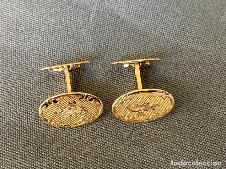 Antigüedades: L B EXCLUSIVE cufflinks , gemelos de ORO DE 14 QUILATES , 585 KARAT CUFFLINKS - Foto 5 - 256006570