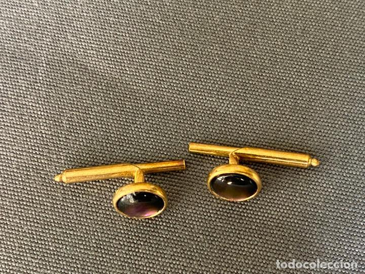 Antigüedades: METAL cufflinks , gemelos CHAPADOS de ORO DE 14 QUILATES , VINTAGE - Foto 6 - 256007495
