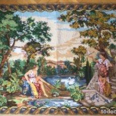 Antigüedades: GRAN TAPIZ, PETTIT POINT, PUNTO DE CRUZ FRANCES. VERDURE AUX DIANES. 1,60 X 1,20 M.. Lote 256014780